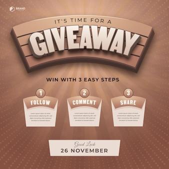 Efeito de texto 3d com etapas giveaway para postagem em mídia social com 3 etapas para vencer