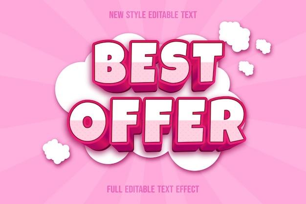 Efeito de texto 3d com melhor oferta de cor branco e rosa