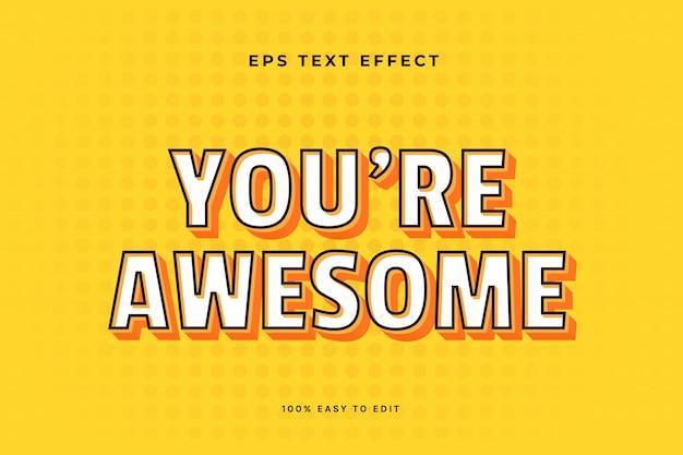 Efeito de texto 3d com traços amarelos e pretos brancos