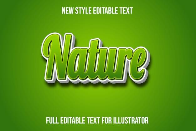 Efeito de texto 3d cor da natureza gradiente verde e branco