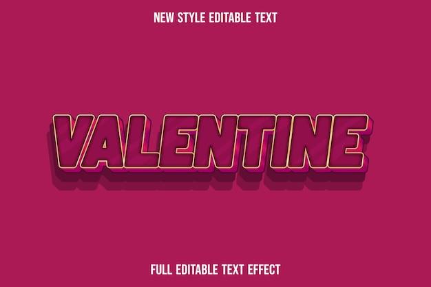 Efeito de texto 3d cor de dia dos namorados vermelho e rosa