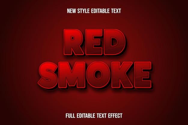 Efeito de texto 3d cor de fumaça vermelha vermelha e preta