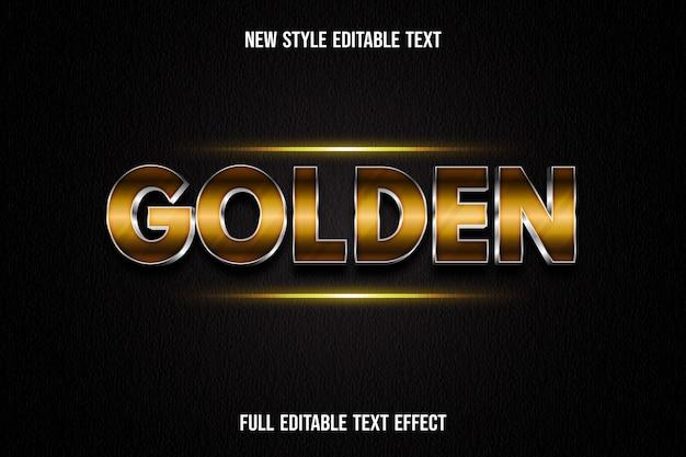 Efeito de texto 3d cor dourada gradiente de ouro e prata