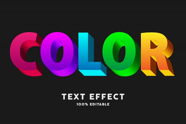 Efeito de texto 3d cor negrito arco-íris