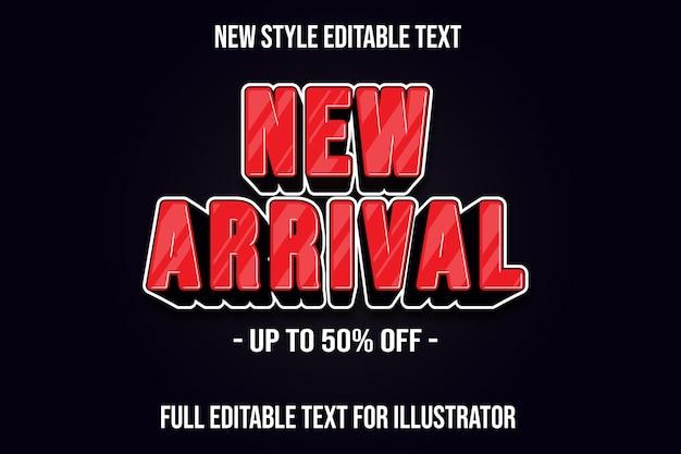 Efeito de texto 3d, cor nova chegada, gradiente vermelho e preto