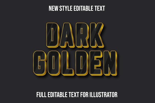 Efeito de texto 3d cor ouro escuro preto e gradiente dourado
