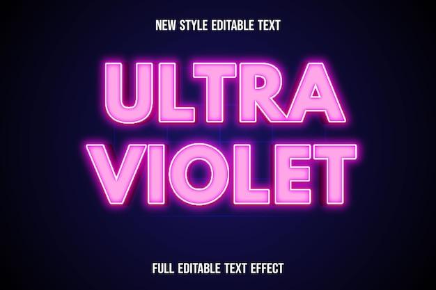 Efeito de texto 3d cor ultravioleta gradiente branco e rosa
