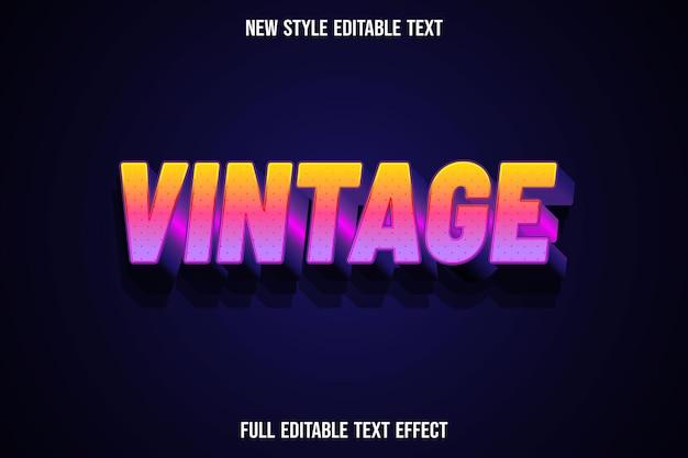 Efeito de texto 3d cor vintage amarelo laranja e roxo