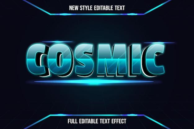 Efeito de texto 3d cósmico cor verde e preto