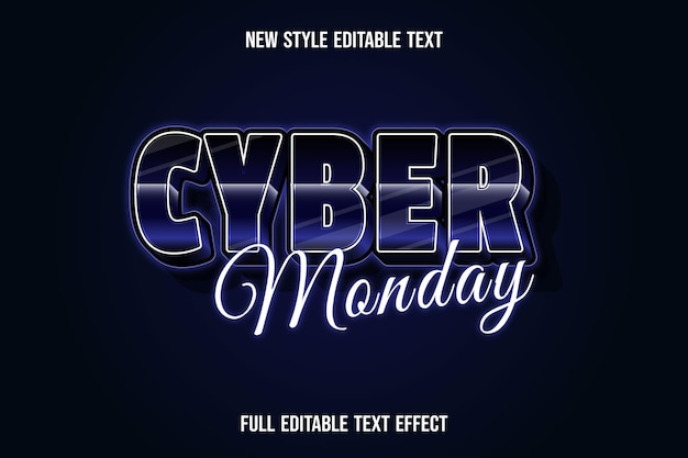 Efeito de texto 3d cyber segunda-feira, cor azul escuro e preto