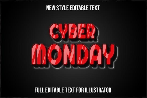 Efeito de texto 3d cyber segunda-feira cor gradiente vermelho e preto