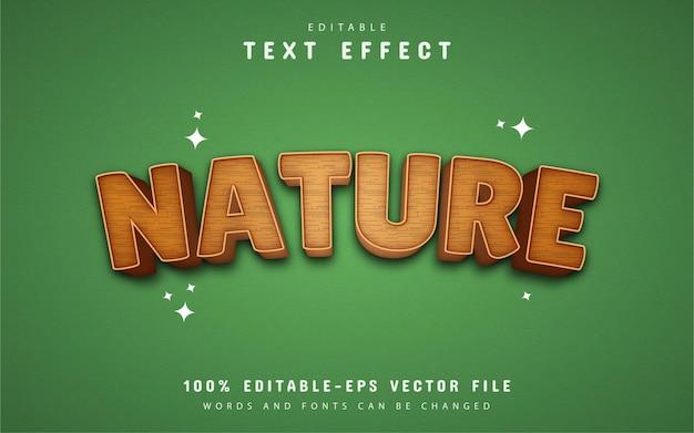 Efeito de texto 3d da natureza com padrão de madeira