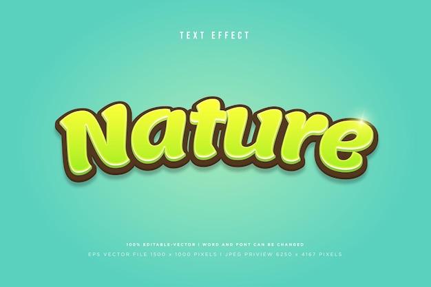 Efeito de texto 3d da natureza em fundo verde