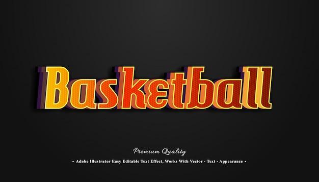 Efeito de texto 3d de basquete