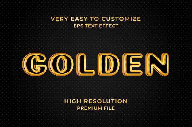 Efeito de texto 3d de borda dourada