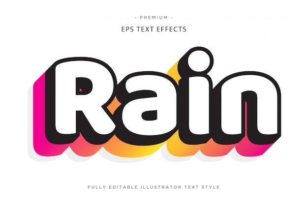 Efeito de texto 3d de chuva estilo de texto 3d