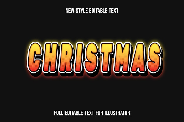 Efeito de texto 3d de cor de natal gradiente amarelo e laranja