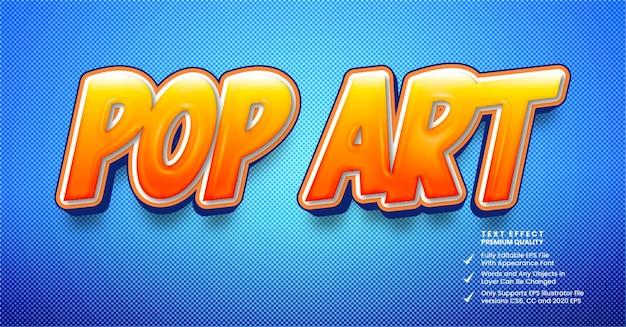 Efeito de texto 3d de estilo pop art em quadrinhos