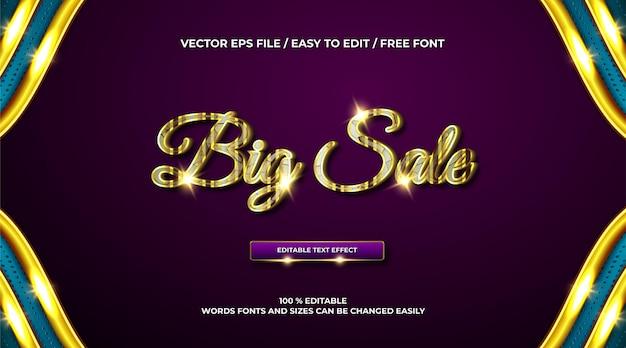 Efeito de texto 3d de luxo em grande venda ouro
