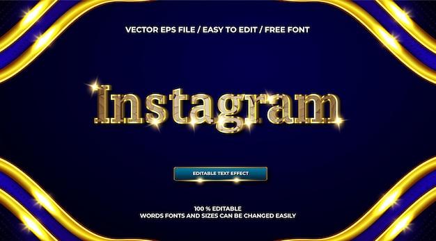 Efeito de texto 3d de luxo instagram dourado