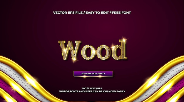 Efeito de texto 3d de madeira de luxo ouro