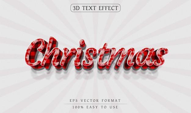 Efeito de texto 3d de natal editável