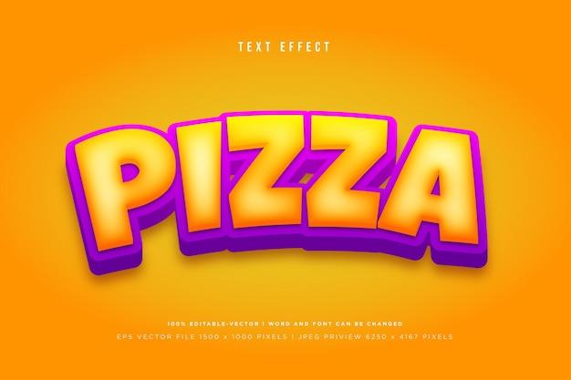Efeito de texto 3d de pizza em laranja