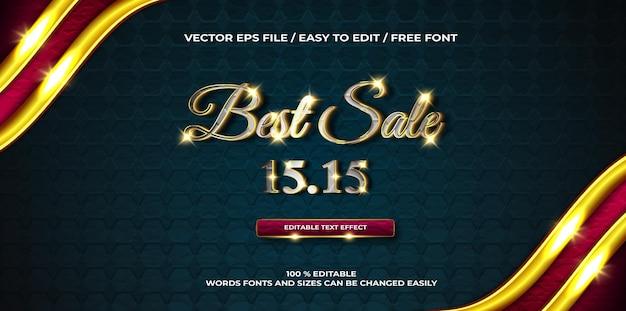 Efeito de texto 3d de promoção de luxo melhor venda ouro