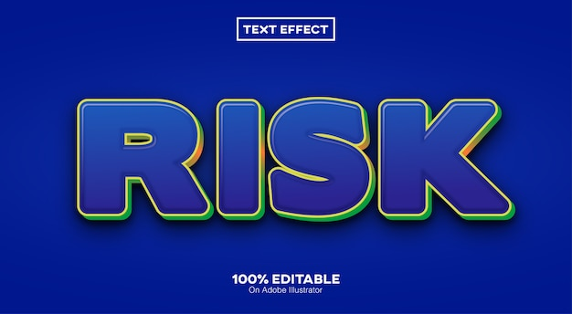 Efeito de texto 3d de risco