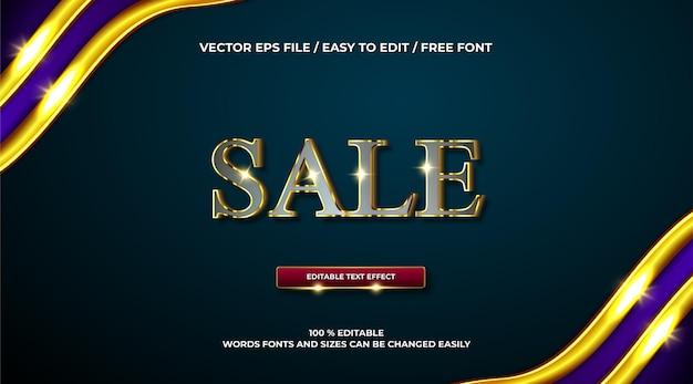 Efeito de texto 3d de venda elegante em ouro