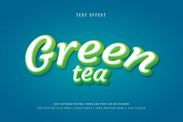 Efeito de texto 3d do chá verde na tosca