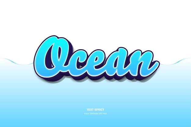 Efeito de texto 3d do oceano