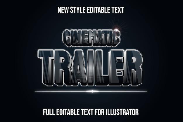 Efeito de texto 3d do trailer cinematográfico em preto e gradiente prateado