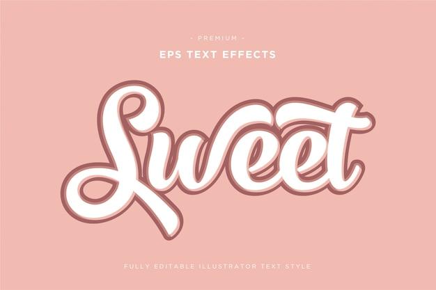 Efeito de texto 3d doce