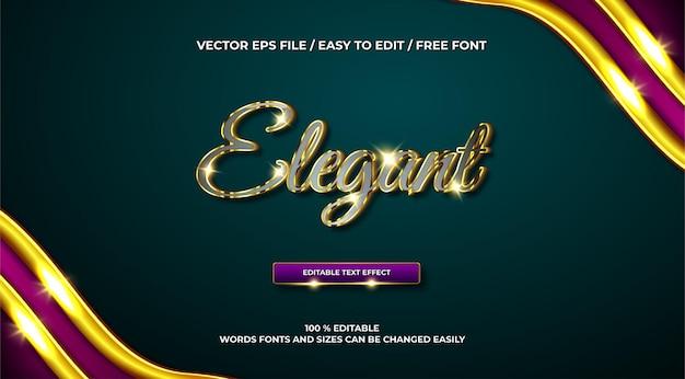 Efeito de texto 3d dourado elegante