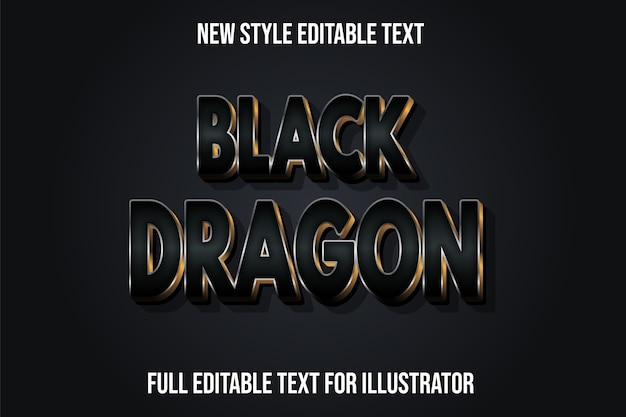 Efeito de texto 3d dragão negro cor preto e gradiente dourado