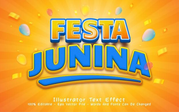 Efeito de texto 3d editável com ilustrações de estilo festa junina