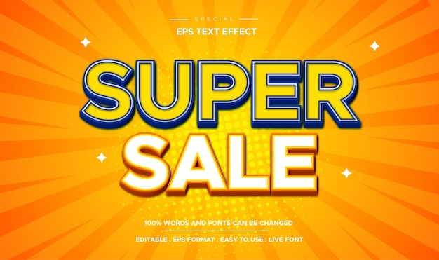Efeito de texto 3d editável conceito de adesivo super venda texto editável