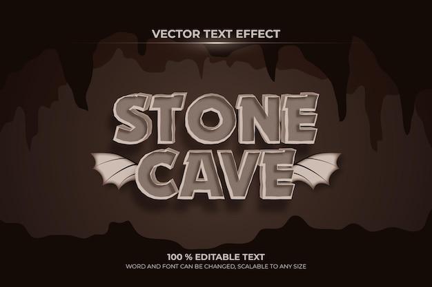 Efeito de texto 3d editável da caverna de pedra