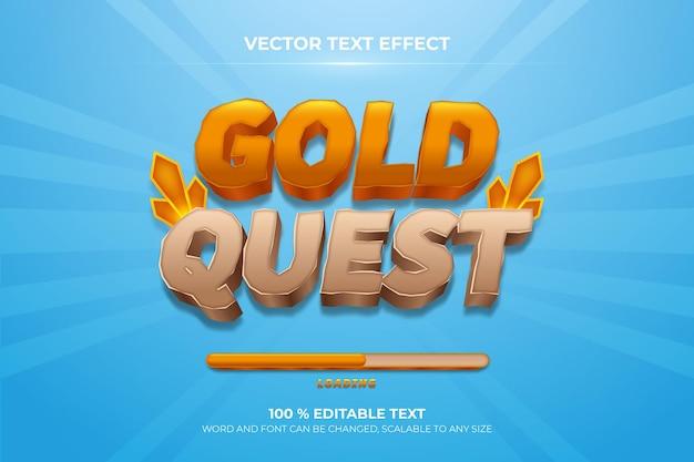 Efeito de texto 3d editável da gold quest