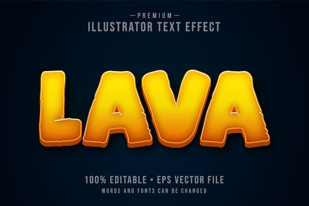 Efeito de texto 3d editável da lava ou estilo gráfico com fogo laranja vermelho quente