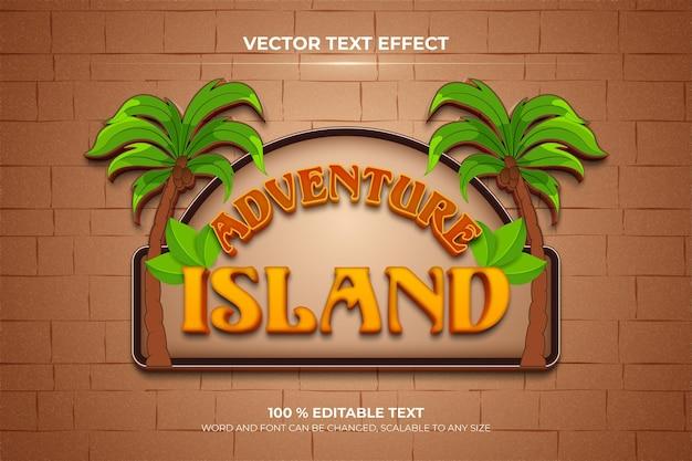 Efeito de texto 3d editável de adventure island com estilo de fundo de palmeira