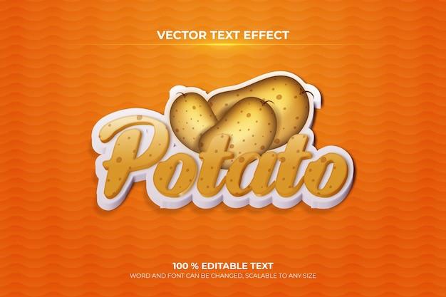 Efeito de texto 3d editável de batata