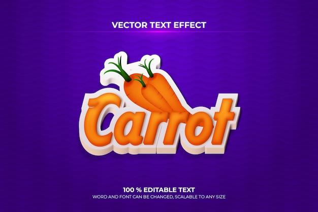 Efeito de texto 3d editável de cenoura