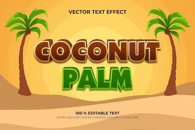 Efeito de texto 3d editável de coqueiro com estilo de fundo por do sol