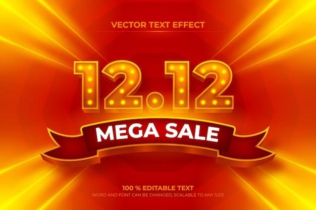 Efeito de texto 3d editável de mega venda com estilo de fundo de fita vermelha