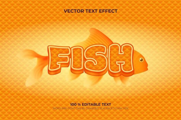 Efeito de texto 3d editável de peixe com estilo de fundo animal