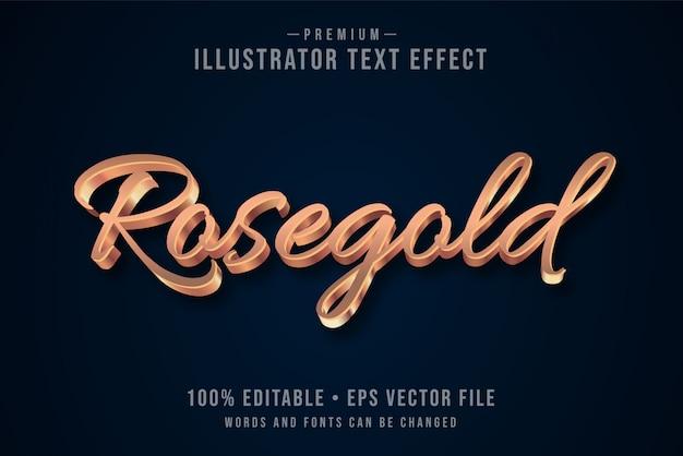 Efeito de texto 3d editável de rosegold ou estilo gráfico com gradiente metálico