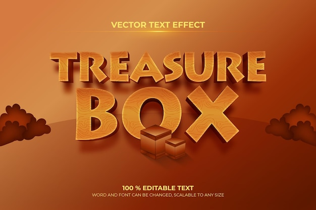 Efeito de texto 3d editável de treasure box