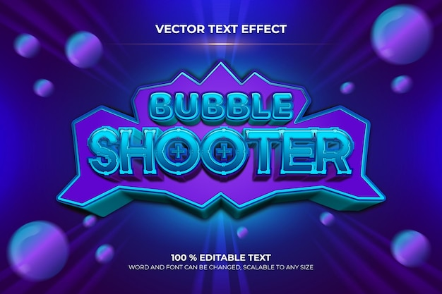 Efeito de texto 3d editável do bubble shooter com estilo de fundo azul e roxo